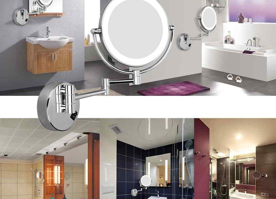 espejo de baño con luz led extensible